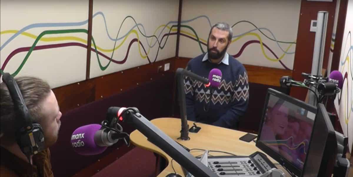 Josem in the Manx Radio studio discussing the Scheinberg case