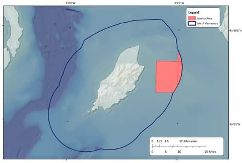 Map of oil and gas exploration off Laxey