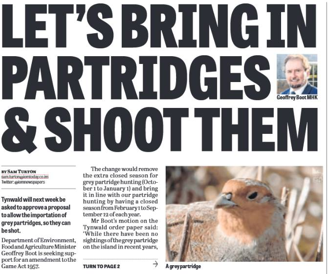Newspaper headline: Let's bring in partridges and shoot them