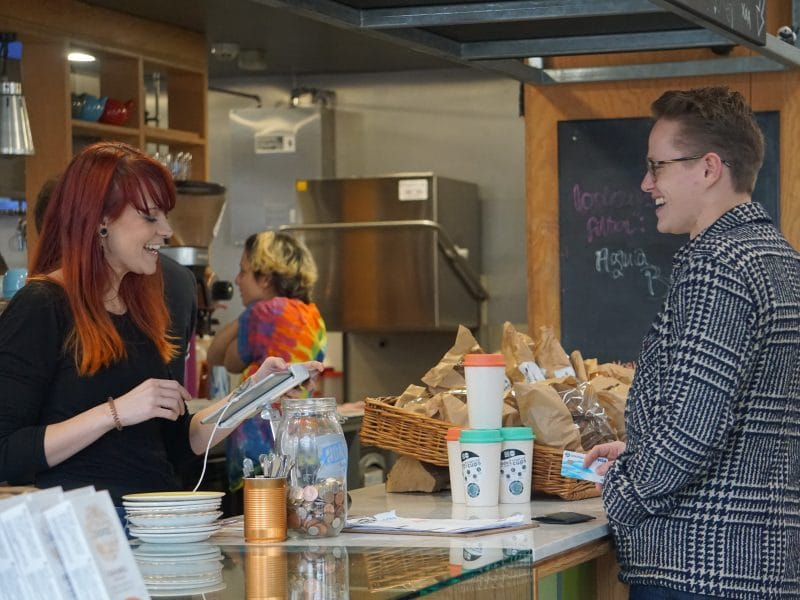 James buys a coffee from Lindsey at Noa Bakehouse in Douglas