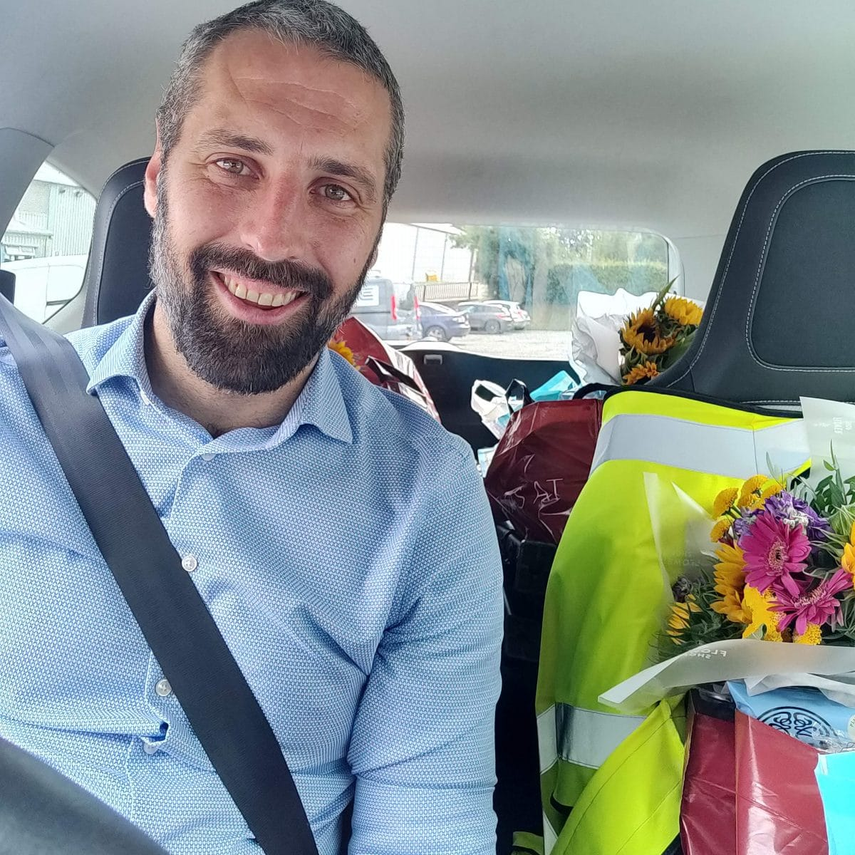 Parked at the Isle of Man Foodbank, ready to deliver another car load of food (and flowers!)